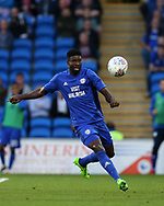 Bruno Ecuele Manga of Cardiff city in action. EFL Skybet championship match, Cardiff city v Sheffield Utd at the Cardiff City Stadium in Cardiff, South Wales on Tuesday 15th August 2017.<br /> pic by Andrew Orchard, Andrew Orchard sports photography.