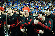 19 MAR 2015: University of Cincinnati band gets roudy in overtime against Purdue University during the 2015 NCAA Men's Basketball Tournament held at the KFC Yum! Center in Louisville, KY. Cincinnati defeated Purdue 66-65 in overtime. Brett Wilhelm/NCAA Photos