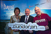 NO FEE PICTURES<br /> 23/1/16 Minister for Tourism Michael Ring and Maureen Ledwith, organiser of the Holiday World Show at the Discover Donegal stand at the Holiday World Show at the RDS in Dublin. Picture: Arthur Carron