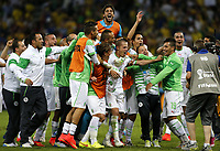 Fotball<br /> VM 2014<br /> Russland v Algerie<br /> 26.06.014<br /> Foto: imago/Digitalsport<br /> NORWAY ONLY<br /> <br /> Algeria s players celebrate after a Group H match between Algeria and Russia of 2014 FIFA World Cup at the Arena da Baixada Stadium in Curitiba, Brazil, June 26, 2014. Algeria enters Round of 16 after the Thursday match which ended in a 1-1 draw.