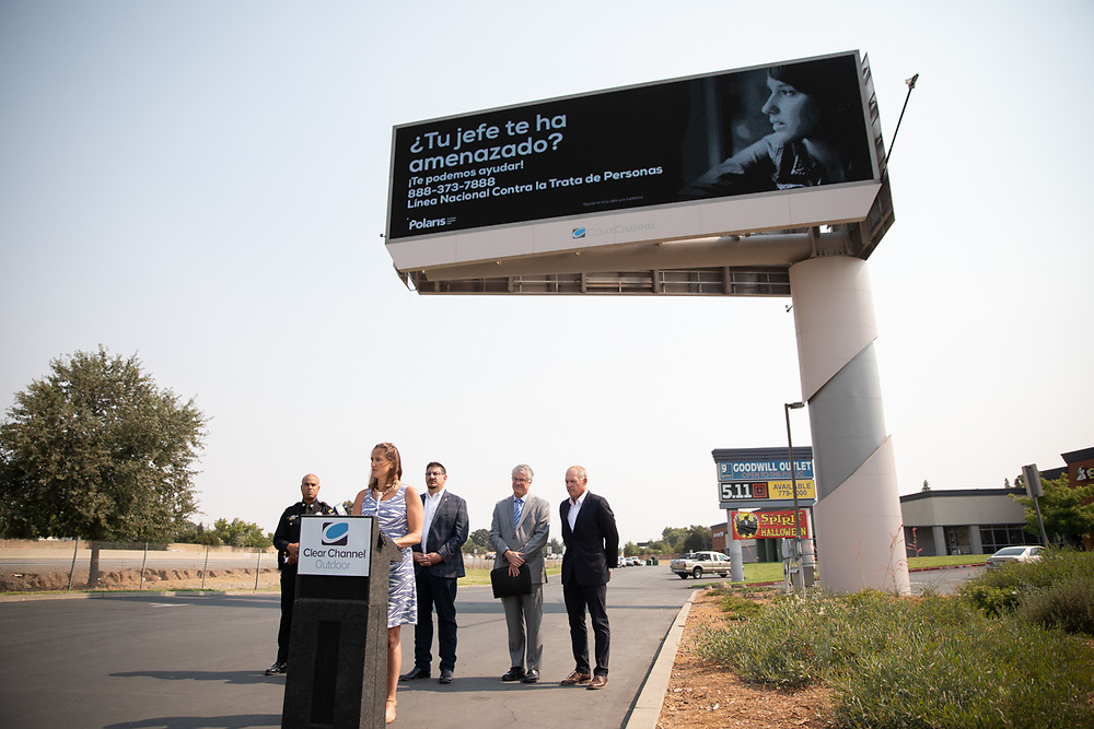 Polaris and Clear Channel Outdoor Americas (CCOA) launch an anti-human tarfficing campaign, focusing specifically on labor trafficking Thursday, August 2, 2018 at CCOA's digital billboard at Interstate 80 and Madison Avenue.