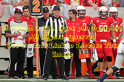 02 September 2017:   Ron Tomczak stands near the yard marking poles during the Butler Bulldogs at  Illinois State Redbirds Football game at Hancock Stadium in Normal IL (Photo by Alan Look)