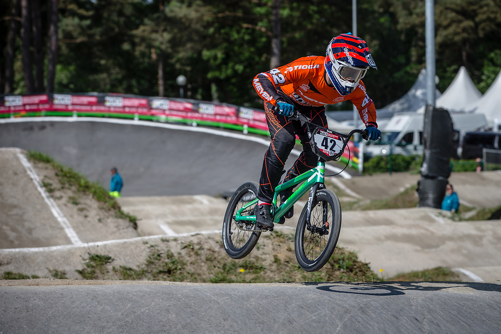 #42 (SCHIPPERS Jay) NED during practice at Round 5 of the 2018 UCI BMX Superscross World Cup in Zolder, Belgium