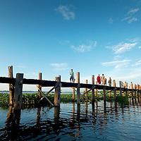 U Bein bridge by sunset
