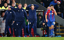 Cardiff City manager Neil Warnock (centre right) gestures on the touchline during the Premier League match at Selhurst Park, London.