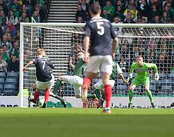 Falkirk's Craig Sibbald scoring their first goal..Half time : Hibernian 0 v 3 Falkirk, William Hill Scottish Cup Semi Final, Hampden Park..©Michael Schofield..