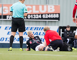 Falkirk's Lewis Kidd after a tackle with Dunfermline's Nicky Clarke. Falkirk 2 v 1 Dunfermline, Scottish Championship game played 15/10/2016, at The Falkirk Stadium.