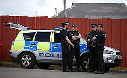 Police presence outside Hampden Park before the 2018 FIFA World Cup qualifying, Group F match at Hampden Park, Glasgow.