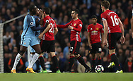 Ander Herrera of Manchester United and Yaya Toure of Manchester City clash during the English Premier League match at The Etihad Stadium, Manchester. Picture date: April 27th, 2016. Photo credit should read: Lynne Cameron/Sportimage