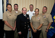 PENSACOLA, Fla. (Oct. 29, 2009) -- Representing the active duty community from left are Petty Officer First Class Heather Ewton, Chief Petty Officer Tony Casullo, Chief Petty Officer Chace Groth, Cmdr. Scott Norr, Petty Officer First Class Leah Stiles and Master Chief Petty Officer Ron Martinez, pose for a photo opportunity during the National Association of Naval Photography (NANP) reunion in Pensacola Beach, Florida, for a week long event of tours, meetings and awards dinner.  Photo by Johnny Bivera