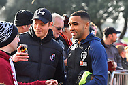 Callum Wilson (13) of AFC Bournemouth having a selfie with a fan on arrival at the Vitality Stadium before the Premier League match between Bournemouth and Arsenal at the Vitality Stadium, Bournemouth, England on 25 November 2018.