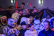 Re-enactors initially parade through and are then penned, wathced over by people from any vantage point  - The European Premiere of STAR WARS: THE FORCE AWAKENS - Odeon, Empire and Vue Cinemas, Leicester Square, London.