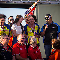 Staff and racers at the Perth Motorplex gathered in support of staff member Bonnie Stevenson's fight against MS.