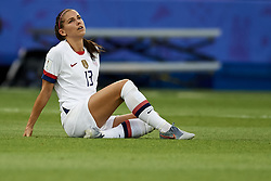 June 28, 2019 - Paris, France - Alex Morgan (Orlando Pride) of United States lies injured on the pitch during the 2019 FIFA Women's World Cup France Quarter Final match between France and USA at Parc des Princes on June 28, 2019 in Paris, France. (Credit Image: © Jose Breton/NurPhoto via ZUMA Press)