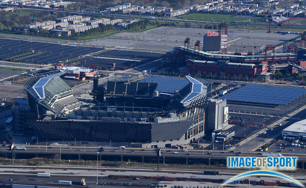 General overall aerial view of Lincoln Financial Field and Citzen's Bank Park at the Philadelphia Sports Complex in Philadelphia on Thursday, April 26, 2018. The venues are the home of the Philadelphia Eagles of the NFL and the Philadelphia Phillies of the MLB, respectively.