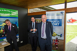 Pictured:  SCCA Chief Executive David Craig, John Swinney and SCCA Vice-Chair Mike Beale<br /> Deputy First Minister and local MSP  John Swinney visited Perth Airport today to visit Scotland's Charity Air Ambulance. The Perthshire North MSP will meet volunteers and present certificates to mark the start of National Volunteers' Week.<br /> <br /> <br /> Ger Harley | EEm 1 June 2018
