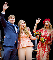 Queen Maxima and King Willem Alexander with Princess Amalia attending King's Day Celebrations in Groningen, Netherlands, on April 27, 2018. Photo by Robin Utrecht/ABACAPRESS.COM