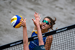 Aline Chamereau FRA in action during the second day of the beach volleyball event King of the Court at Jaarbeursplein on September 10, 2020 in Utrecht.