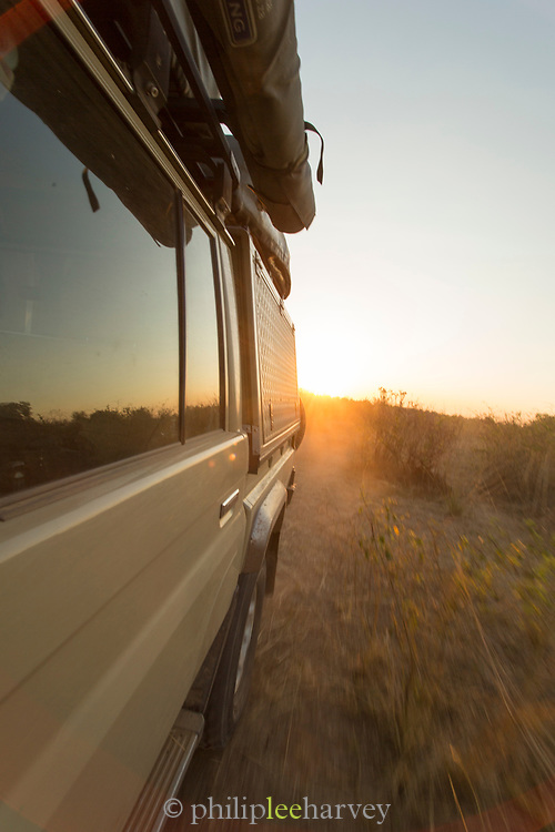 Safari 4x4 at sunset in South Luangwa National Park, Zambia