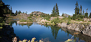 Rampart Lakes, Alpine Lakes Wilderness, Wenatchee National Forest, Washington, USA. Panorama stitched from 2 images.