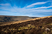 Landscape view across the valley from Glyn Tarell hills in the Brecon Beacons National Park, Wales, Powys, United Kingdom. The Brecon Beacons are a hill and mountain range in South Wales. The National Park was established in 1957 due to the spectacular landscape which is rich in natural beauty.