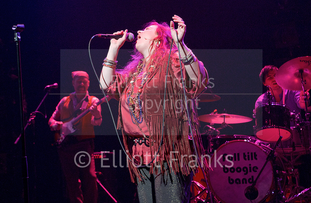 Janis Joplin : Full Tilt <br /> by Peter Arnott <br /> directed by Cora Bissett <br /> at Theatre Royal Stratford East <br /> Stratford, London, Great Britain <br /> press photocall <br /> 11th February 2016 <br /> <br /> Angie Darcy as Janis Joplin <br /> <br /> Andy Barbour <br /> <br /> James Grant <br /> <br /> Jon Mackenzie<br /> <br /> Harry Ward <br /> <br /> Photograph by Elliott Franks <br /> Image licensed to Elliott Franks Photography Services