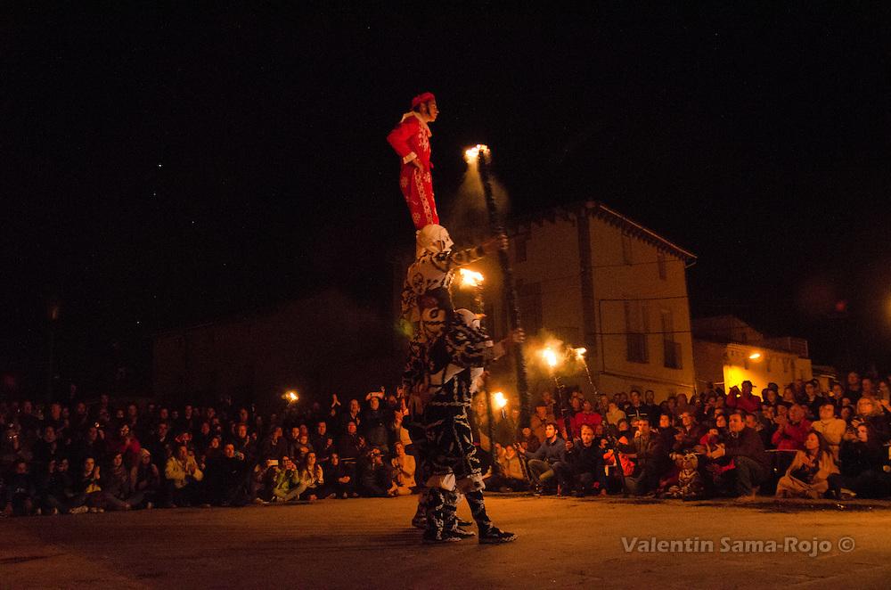 'Contradanceros' performing the 'Retablo' figure during Cetina's Contradanza honoring St. Juan Lorenzo.