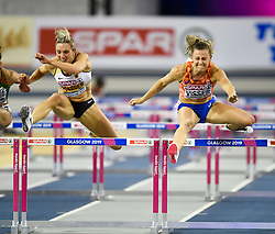 Netherland's Nadine Visser (right) wins Women's 60m Hurdles Final during day three of the European Indoor Athletics Championships at the Emirates Arena, Glasgow.