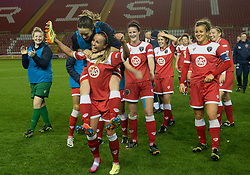 Bristol Academy Womens' Natasha Harding celebrates with team mates as they win 2 - 1  - Photo mandatory by-line: Dougie Allward/JMP - Mobile: 07966 386802 - 13/11/2014 - SPORT - Football - Bristol - Ashton Gate - Bristol Academy Womens FC v FC Barcelona - Women's Champions League