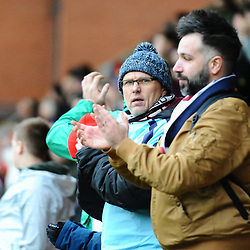 TELFORD COPYRIGHT MIKE SHERIDAN 16/3/2019 - AFC Telford fans during the FA Trophy semi final first leg fixture between Leyton Orient and AFC Telford United at Brisbane Road.