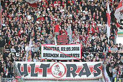 16.04.2016, WWK Arena, Augsburg, GER, 1. FBL, FC Augsburg vs VfB Stuttgart, 30. Runde, im Bild VfB Fans mit Banner gegen das Montagspiel am 2 Mai // during the German Bundesliga 30th round match between FC Augsburg and VfB Stuttgart at the WWK Arena in Augsburg, Germany on 2016/04/16. EXPA Pictures © 2016, PhotoCredit: EXPA/ Eibner-Pressefoto/ Langer<br /> <br /> *****ATTENTION - OUT of GER*****
