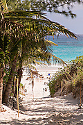 Beach path to the pink sands beach in Dunmore Town, Harbour Island, The Bahamas
