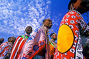 Image of Masai Mara women in traditional clothing, Masai Mara National Reserve in Kenya, model released by Randy Wells