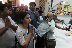 March 29, 2019 - Mumbai, India - Indian Bollywood actress Urmila Matondkar is seen during her visit at the Temple in Mumbai, India on 29 March 2019. Actress will contest the Lok Sabha election or national election as the Congress candidate from the Mumbai North constituency as per media report. (Credit Image: © Himanshu Bhatt/NurPhoto via ZUMA Press)