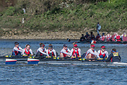 Mortlake/Chiswick, GREATER LONDON. United Kingdom. Agecroft Rowing Club, W.MasA.8+, competing in the 2017 Vesta Veterans Head of the River Race, The Championship Course, Putney to Mortlake on the River Thames.<br /> <br /> <br /> Sunday  26/03/2017<br /> <br /> [Mandatory Credit; Peter SPURRIER/Intersport Images]
