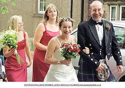 Singer Kate Rusby onher way to the local Church  in Cawthorn Barnsley where the couple were married on Saturday Afternoon (11/8/01)