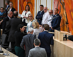 "27.05.2019, Hofburg, Wien, AUT, Sondersitzung des Nationalrates, Sitzung des Nationalrates aufgrund des Misstrauensantrags der Liste JETZT, FPOE und SPOE gegen Bundeskanzler Sebastian Kurz (OeVP) und die Bundesregierung, im Bild v.l. Elisabeth Köstinger (ÖVP), Eckart Ratz, Sebastian Kurz (ÖVP) verlassen das Parlament // during special meeting of the National Council of austria due to the topic ""motion of censure against the federal chancellor Sebastian Kurz (OeVP) and the federal government"" at the Hofburg in Wien, Australia on 2019/05/27. EXPA Pictures © 2019, PhotoCredit: EXPA/ Lukas Huter"