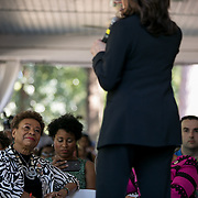 COLUMBIA, SC - JUNE 21: Senator Kamala Harris speaks to a porch full of supporters at a meet and greet in an historic home in Columbia, SC on June, 21 2019. Many of the Democratic candidates running for president are in Columbia to make appearances at the South Carolina Democratic Party Convention and the Planned Parenthood Election Forum on June 22.(Logan Cyrus for AFP)