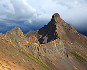 Storm clouds being to brew around Colorado fourteener Wetterhorn Peak 14,015ft which lies in the San Juan mountains in the southwest part of the state.