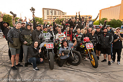 Joe Kopp (3) came in first on his Triumph Street Twin in the Super Hooligan final followed close behind by Frankie Garcia (24) in second and Jordan Graham (47) in third <br /> at the Revival and Roland Sands sponsored Super Hooligan races in the parking lot of the Austin American Statesman outside the Handbuilt Show. Austin, Texas USA. Saturday, April 13, 2019. Photography ©2019 Michael Lichter.