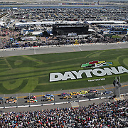 The official start of the 60th Annual NASCAR Daytona 500 auto race at Daytona International Speedway on Sunday, February 18, 2018 in Daytona Beach, Florida.  (Alex Menendez via AP)