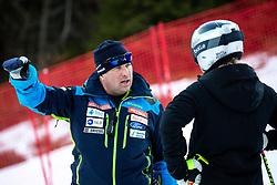 Mitja Kunc, coach of Slovenia, and Meta Hrovat of Slovenia during the Ladies' GiantSlalom at 56th Golden Fox event at Audi FIS Ski World Cup 2019/20, on February 15, 2020 in Podkoren, Kranjska Gora, Slovenia. Photo by Morgan Kristan / Sportida