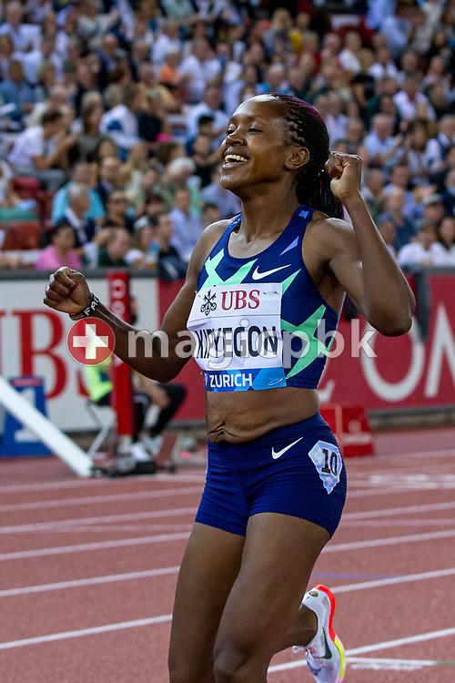 Faith Kipyegon of Kenya reacts after wining the 1500m Women during the Iaaf Diamond League meeting (Weltklasse Zuerich) at the Letzigrund Stadium in Zurich, Switzerland, Thursday, Sept. 9, 2021. (Photo by Patrick B. Kraemer / MAGICPBK)