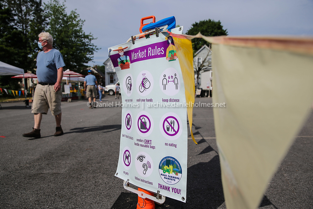 (6/27/20, MAYNARD, MA) Social distancing rules were clearly displayed during the opening of the Farmers' Market at Mill Pond in Maynard on Saturday. [Daily News and Wicked Local Photo/Dan Holmes]