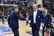 Federico Pasquini, Romeo Sacchetti<br /> Banco di Sardegna Dinamo Sassari - Enel New Basket Brindisi<br /> Legabasket Serie A LBA Poste Mobile 2016/2017<br /> Sassari 02/04/2017<br /> Foto Ciamillo-Castoria