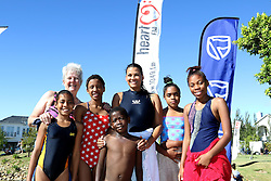 Coleen de Villiers from Bridge House and Former Miss South Africa Amy Kleinhans-Curd with the Bridge House Development (Learn to Swim) Swimmers during the Bridge House Mile held at the Val de Vie Estate outside Paarl, South Africa on the 12th February 2017.<br /> <br /> Photo by Shaun Roy/RealTime Images