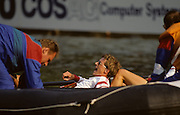Bled, Slovenia, YUGOSLAVIA.  Exhausted athletes at the 1989 World Rowing Championships, Lake Bled. [Mandatory Credit. Peter Spurrier/Intersport Images]