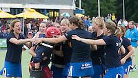 UTRECHT -  Vreugde bij Kampong na de shoot outs de finale Veteranen hoofdklasse A dames tussen Kampong en Amsterdam. Kampong wint na shoot out. COPYRIGHT KOEN SUYK