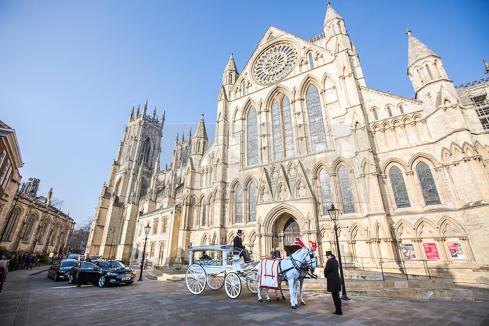 © Licensed to London News Pictures. 13/02/2017. York UK. The funeral of seven year old Katie Rough has taken place at York Minster today led by the Archbishop of York Dr John Sentamu. Katie was found with severe lacerations to her neck & chest on a playing field in the Woodthorpe area of York on January 9th & pronounced dead at hospital. A 15 year old girl is due to appear in court later this week charged with her murder. Photo credit: Andrew McCaren/LNP