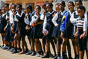 Schoolchildren in smart school uniforms at the Alexandra Township, Johannesburg, South Africa
